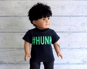 American Boy Doll Clothes, Graphic Tee Shirt, 18 inch Doll Clothes Navy Blue T Shirt
