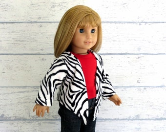 Zebra Stripe Cardigan - 18 inch Doll Clothes Black White Sweater Top, Handkerchief Hem Top