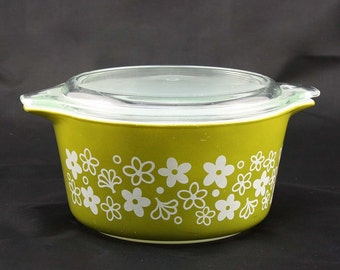 Spring Blossom Green or Crazy Daisy Pyrex Cinderella Casserole Dish - Olive Green with White Flowers - Small 1 Quart #473