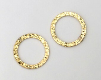 Set of 2 12K Gold Fill 15mm Hammered Closed Rings
