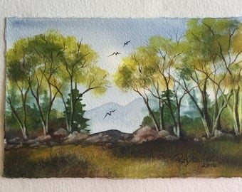 Catskill Mountain View an Original Watercolor Painting 4x6 inch