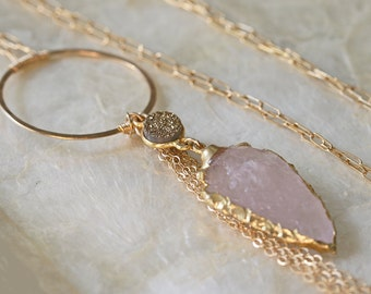 Arrowhead Necklace - Druzy Necklace  Gold Dipped Necklace - Long Necklace - Drusy Necklace - Gold Dipped - Ready to Ship -