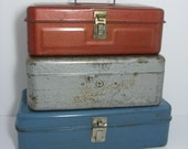 Set of Three Tool Tackle Boxes....Great for Groomsman Gifts or Storage