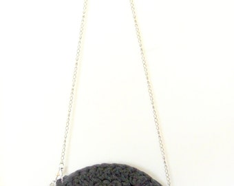 Gray Circle Bag, Knitted Clutch, Tshirt yarn Circle Bag, Circle Round Handbag, Gray Circle Clutch, Dark Gray Knitted Bag, Woman Accessories.