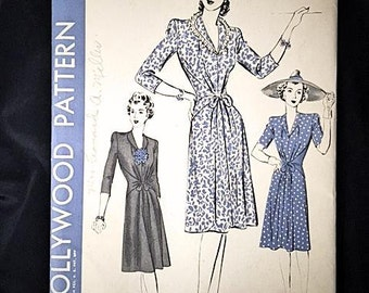 Vintage 40s UNUSED One Piece Dress Sewing Pattern HOLLYWOOD PATTERN 1060 Large Size 20 Bust 38 Hip 41 . 40s Sew Simple Pattern