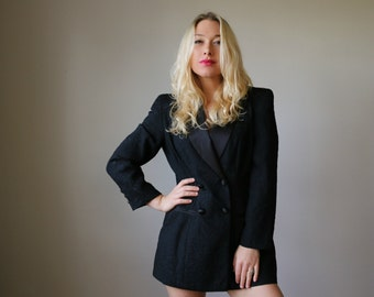 1990s Embossed Tuxedo Blazer~Mini Dress~Size Extra Small to Small