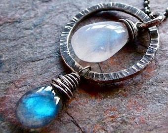 Rainbow Moonstone Labradorite Sterling Silver Necklace Rainbow Moonstone Labradorite Pendant on Sterling Silver Ch