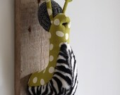 Zesty zebra zlug. Quirky slug trophy. Garden pest. Gardener gift. Snail sculpture.
