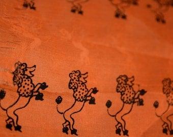 Vintage Vera Scarf, 1950s Vera Neumann Poodle Scarf, Black Dancing Poodles on Coral Background