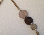 Coin necklace. Regal necklace. Mixed metal necklace.