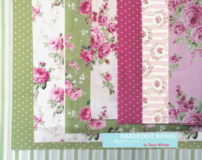 Tanya Whelan - Barefoot Roses Legacy, french country cottage chic fat quarter bundle, 8 pieces