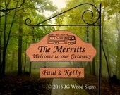 Family Name - Personalized Custom Camping Sign - Includes sign holder - JGWoodSigns - Custom Carved Wood - Etsy