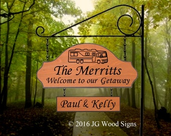 Personalized Camping Sign - RV Camping Sign - Includes round garden holder JG Wood Signs Etsy Custom RV Sign Merritt