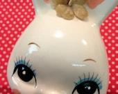 Vintage Japan Cute Ceramic Rabbit Bunny Money Bank RePainted
