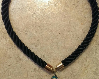 Teal and Gold Swirl Necklace