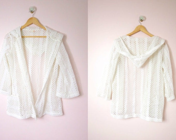 1960s White Swimsuit Cover Up Hoodie