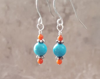 Turquoise, Coral and Bali Silver with Sterling Silver - Free Shipping