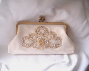 ivory and champagne bridal clutch, formal wedding, fairytale clutch, brides clutch, elegant bridal clutch, wedding clutch, ready to ship,