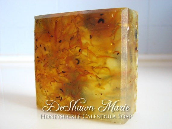 SALE SOAP- Honeysuckle Calendula Soap- Handmade Soap - Vegan Soap - Glycerin Soap- Soap Gift - Mother's Day Gift - Birthday Gift - Wedding F