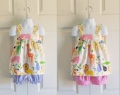 Apron Style Pinafore Top and Bloomers or Shorts Set for baby or toddler girls - 6 mos to 6 yrs - Zoo Collection