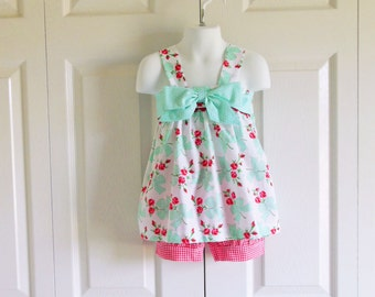 Kinsey Bow Top Bloomers Set Shorts Set - baby or toddler girls - 6 mos to size 6 - Vintage Roses and Bows gingham polka dot
