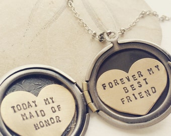 Personalized bridesmaid gift, Will You Be My Maid of Honor, Be my MOH necklace, Maid of Honor gift, Bridesmaid gift, heart locket necklace