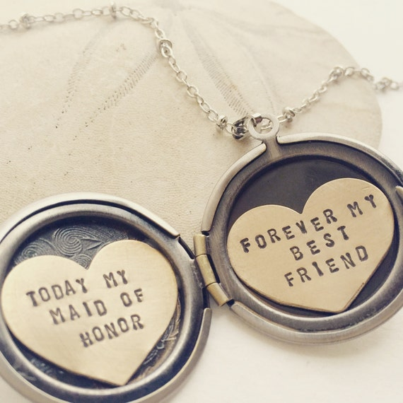... necklace, Maid of Honor gift, Bridesmaid gift, heart locket necklace