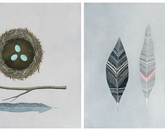 Nest and Feathers Print Collection - Set of 2 Signed Archival Art Prints - Contemporary Nature Painting - by Natasha Newton