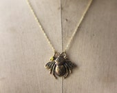 Bee Pendant, Bumblebee Necklace, Honey Bee, Olive Jade, Under 20, Summer Insect
