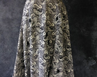 50's black and white cotton pique paisley print beaded full skirt Patric of Miss America