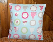 pale blue pink roses tea cup decorative pillow cover,  cushion cover 16 inch