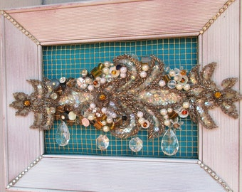 Framed Vintage Pearls,Beads Rhinestones on Wire, Assemblage