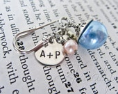 Old, New, Borrowed, Blue - Personalized Silver Bouquet Pin - Hand Stamped Nickel Silver Winter Wedding with Date, Initials, Freshwater Pearl