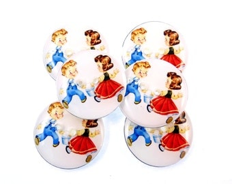 """6 Jack and Jill Buttons. Vintage Image Handmade by Me. Decorative 2 Hole Buttons. Children's Buttons.  Washer  Dryer Safe.  3/4"""" or 20 mm."""