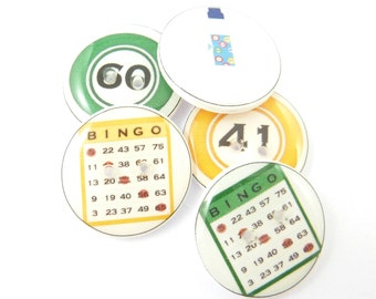 """5 Bingo Buttons. Handmade Buttons.  Bingo Card Sewing Buttons. 3/4"""" or 20 mm round."""