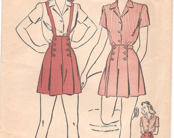 Advance 3713  1940s Misses PLAYSUIT Blouse Tap Shorts Skirt Pattern Sailor Pleated Suspenders Womens Vintage  Sewing Pattern Size 12 Bust 30