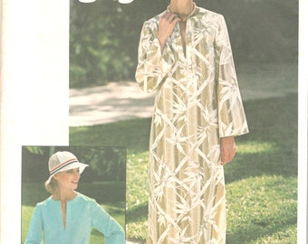 Simplicity 7521 1970s Misses Jiffy Caftan or Top Pattern Womens Vintage Sewing Pattern Size 10 Bust 32 UNCUT