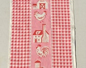 Vintage Towel Fun Farm Roosters & Checks