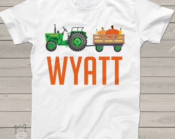 Fall green or red tractor personalized Tshirt - adorable custom and personalized tractor t shirt FTKPPT2