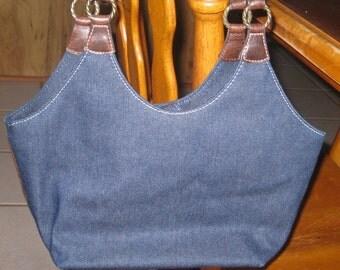 Nine West Blue Denim Shoulder Bag Handbag Purse Vintage