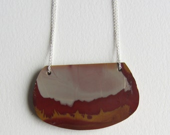 Picture Jasper Necklace - Grey and Red Jasper Jewelry - Handmade in Seattle - Statement Necklace