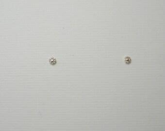 Teeny Tiny Silver Flower Studs Little Silver Studs Teeny Tiny Silver Posts Tiny Silver Stud Earrings Flower Studs Handmade Sterling Silver
