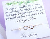 Mothers card with infinity bracelet, pearl bracelet, mother of the bride, mother of the groom, mothers day gift, gifts for mom, mom bracelet
