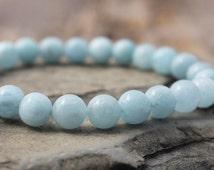 aquamarine bracelet, March birthstone, minimalist 8mm aquamarine stretch bracelet with soft blue natural aquamarine, custom size to order