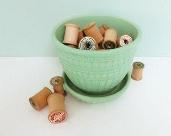 Jadeite Green McCoy Flower Pot, 1950s Pottery, Beaded Pattern, Attached Saucer, Matte Glaze