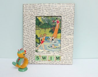SALE! 1940 Children's Primer Book Picture, Handmade Decoupage Mixed Media Art: Summer Swimming Pool Illustration in a Word-Covered Frame