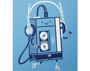 Old Skool Print / Walkman Art Print / Music Print / Roller Skating Wall Art / Cute Print / Home Decor / 8 x 10