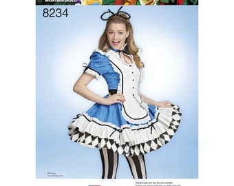 Disney Sexy Alice & Wonderland Costume Sewing Pattern  -Simplicity 8234  US Sizes: 6-14 or 14-22