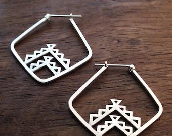 Aztec triangle hoop earrings - sterling silver geometric tribal hoop earrings