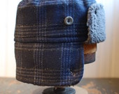 Furry Russian S: trapper hat in navy plaid, russian hat for men women boys or girls, upcycled winter hat with grey ear flaps, cozy flap hat